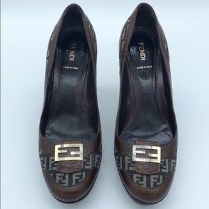 Fendi Brown Block Heels Round Toe Size 6